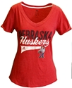 Adidas Nebraska Huskers Herbie Sweep Tee Nebraska Cornhuskers, Nebraska  Ladies Tops, Huskers  Ladies Tops, Nebraska  Ladies T-Shirts, Huskers  Ladies T-Shirts, Nebraska  Ladies, Huskers  Ladies, Nebraska  Short Sleeve, Huskers  Short Sleeve, Nebraska Adidas W Red SS Vneck Crackled Distress, Huskers Adidas W Red SS Vneck Crackled Distress