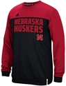 Adidas Red N Black Shock Energy Long Sleeve Performance Crew Nebraska Cornhuskers, Nebraska Polo%27s, Huskers Polo%27s, Nebraska  Mens Polo%27s, Huskers  Mens Polo%27s, Nebraska Adidas Red N Black Shock Energy Long Sleeve Performance Crew, Huskers Adidas Red N Black Shock Energy Long Sleeve Performance Crew