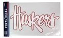 Big Huskers Outline Decal Nebraska Cornhuskers, Nebraska Stickers Decals & Magnets, Huskers Stickers Decals & Magnets, Nebraska White Script Red Outline Decal 16inch, Huskers White Script Red Outline Decal 16inch