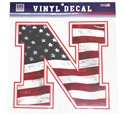Big USA Flag Nebraska N Decal Nebraska Cornhuskers, Nebraska Stickers Decals & Magnets, Huskers Stickers Decals & Magnets, Nebraska USA Flag Decal 12 inch, Huskers USA Flag Decal 12 inch