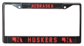 Black Nebraska State Outline License Frame Nebraska Cornhuskers, Nebraska Vehicle, Huskers Vehicle, Nebraska Black State Outline License Frame Rico, Huskers Black State Outline License Frame Rico