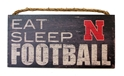 Eat Sleep Nebraska Football Wood Sign Nebraska, N Huskers, Eat Sleep Nebraska Football Wood Sign