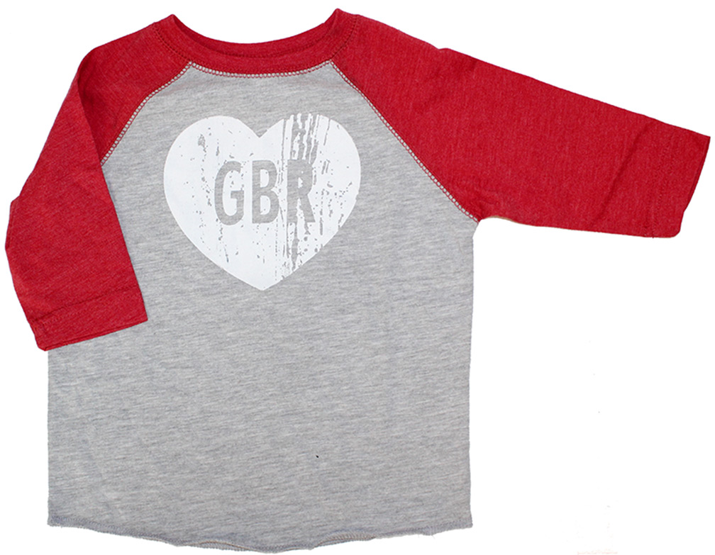 GBR Heart Raglan Nebraska Cornhuskers, Nebraska  Childrens, Huskers  Childrens, Nebraska  Youth , Huskers  Youth , Nebraska GBR Heart Raglan, Huskers GBR Heart Raglan