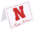 Go Big Red N Happy Holidays Card Nebraska Cornhuskers, Nebraska  Holiday Items, Huskers  Holiday Items, Nebraska N logo Happy Holidays Card FG, Huskers N logo Happy Holidays Card FG