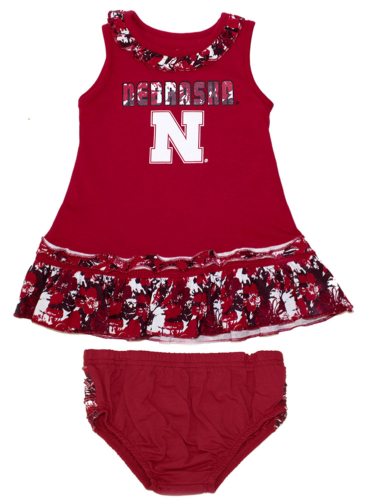 Husker Floral Fountain Infant Dress Set Nebraska Cornhuskers, Nebraska  Infant, Huskers  Infant, Nebraska Husker Floral Fountain Infant Dress Set, Huskers Husker Floral Fountain Infant Dress Set