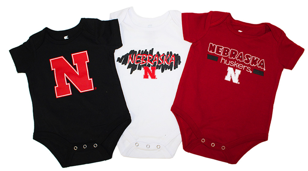 Husker Infant Triple Play Onesie 3 Pack Nebraska Cornhuskers, Nebraska  Infant, Huskers  Infant, Nebraska Husker Infant Triple Play Onesie 3 Pack , Huskers Husker Infant Triple Play Onesie 3 Pack