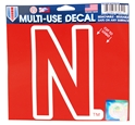 Husker Skinny N Multi-Use Decal Nebraska Cornhuskers, Nebraska Stickers Decals & Magnets, Huskers Stickers Decals & Magnets, Nebraska Red Multi Use N logo Decal WC, Huskers Red Multi Use N logo Decal WC