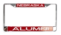 Nebraska Alumni Chrome Frame Nebraska Cornhuskers, Nebraska Vehicle, Huskers Vehicle, Nebraska Chrome Metal Alum License Frame Stockdale, Huskers Chrome Metal Alum License Frame Stockdale