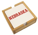 Nebraska Coaster Wood Base Set Nebraska Cornhuskers, Nebraska  Kitchen & Glassware, Huskers  Kitchen & Glassware, Nebraska  Game Room & Big Red Room, Huskers  Game Room & Big Red Room, Nebraska  Office Den & Entry, Huskers  Office Den & Entry, Nebraska Nebraska Coaster Wood Base Set, Huskers Nebraska Coaster Wood Base Set