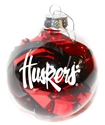 Nebraska Tinsel Ball Ornament Nebraska Cornhuskers, Nebraska  Novelty, Huskers  Novelty, Nebraska  Holiday Items, Huskers  Holiday Items, Nebraska Round Tinsel Ball Ornament, Huskers Round Tinsel Ball Ornament