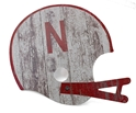 Old Timey Nebraska Helmet Wood Sign Nebraska Cornhuskers, N Huskers Metal Wall Sign