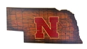 State Outlie Husker Logo Wooden Wall-Sign Nebraska Cornhuskers, N Huskers State Outlie Husker Logo Wooden Wall-Sign