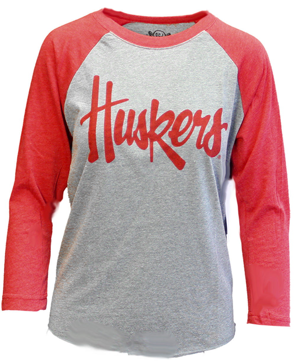 Womens Huskers Raglan Tee OCJ - Gray Nebraska Cornhuskers, Nebraska  Ladies T-Shirts, Huskers  Ladies T-Shirts, Nebraska  Long Sleeve, Huskers  Long Sleeve, Nebraska  Ladies, Huskers  Ladies, Nebraska Womens Huskers Raglan Tee OCJ - Gray  , Huskers Womens Huskers Raglan Tee OCJ - Gray