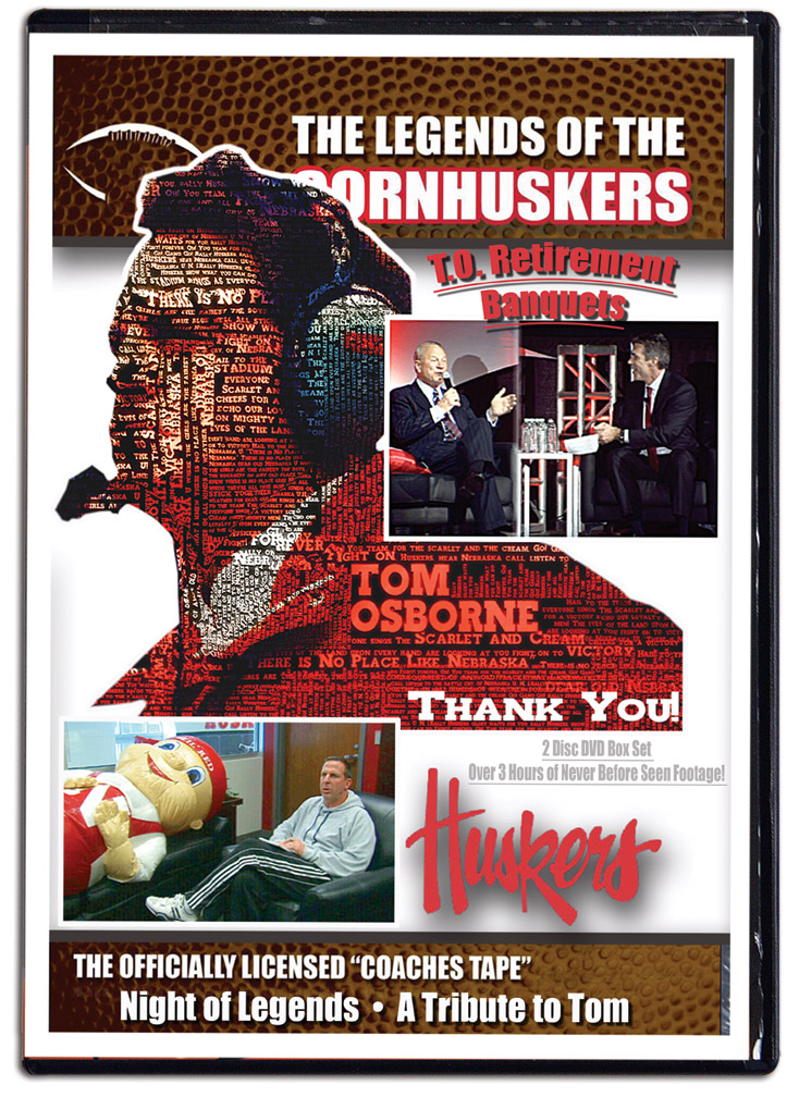 Tom Osborne Retirement Banquets (2 DVD set) Husker football, Nebraska cornhuskers merchandise, husker merchandise, nebraska merchandise, nebraska cornhuskers dvd, husker dvd, nebraska football dvd, nebraska cornhuskers videos, husker videos, nebraska football videos, husker game dvd, husker bowl game dvd, husker dvd subscription, nebraska cornhusker dvd subscription, husker football season on dvd, nebraska cornhuskers dvd box sets, husker dvd box sets, Nebraska Cornhuskers, 2013 Tom Osborne Retirement Banquet DVD Set