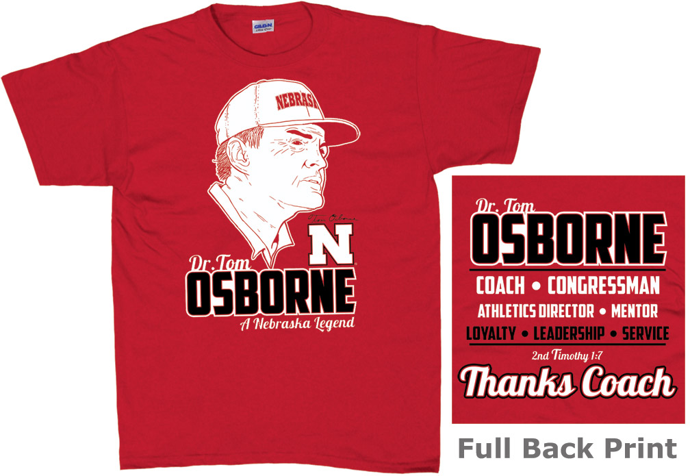 Coach Osborne Legend Red T-Shirt Nebraska cornhuskers, husker football, nebraska merchandise, husker merchandise, nebraska cornhuskers apparel, husker apparel, nebraska apparel, Tom Osborne t-shirt, Osborne career t-shirt, Tom Osborne husker shirt, black husker t-shirt, black nebraska t-shirt