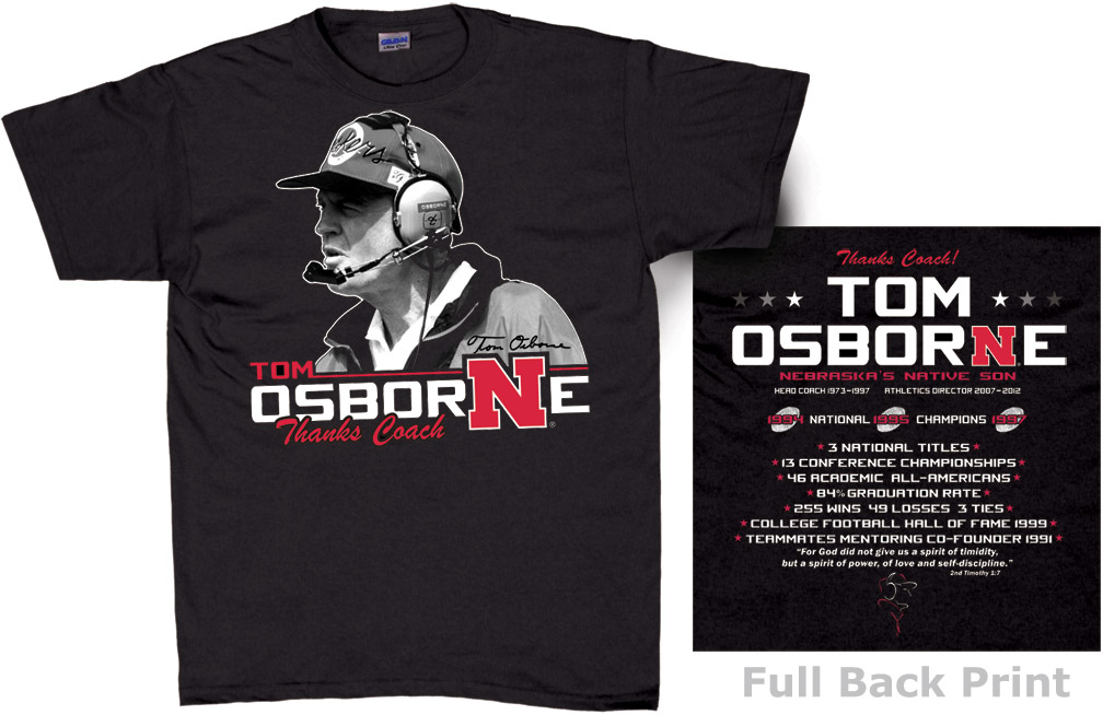 Coach Osborne Career Black T-Shirt Nebraska cornhuskers, husker football, nebraska merchandise, husker merchandise, nebraska cornhuskers apparel, husker apparel, nebraska apparel, Tom Osborne t-shirt, Osborne career t-shirt, Tom Osborne husker shirt, black husker t-shirt, black nebraska t-shirt