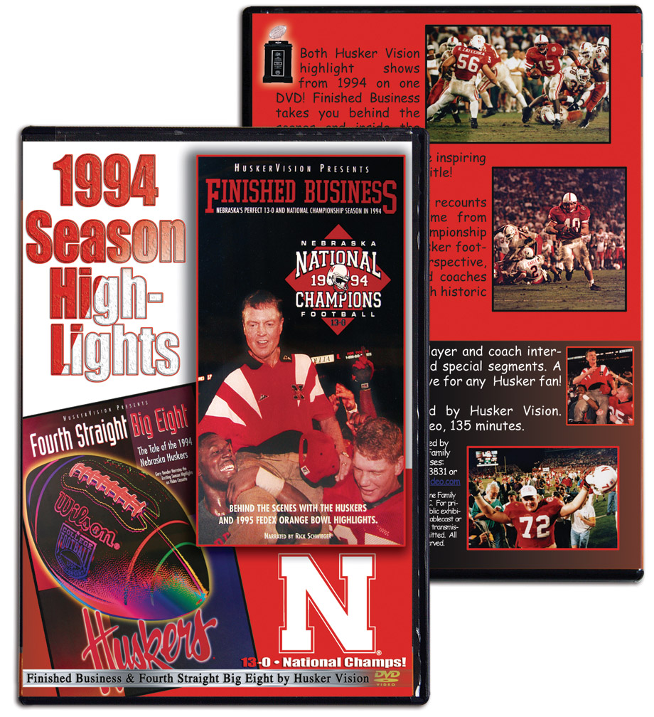 1994 Highlights DVD Husker football, Nebraska cornhuskers merchandise, husker merchandise, nebraska merchandise, nebraska cornhuskers dvd, husker dvd, nebraska football dvd, nebraska cornhuskers videos, husker videos, nebraska football videos, husker game dvd, husker bowl game dvd, husker dvd subscription, nebraska cornhusker dvd subscription, husker football season on dvd, nebraska cornhuskers dvd box sets, husker dvd box sets, Nebraska Cornhuskers, 1994 Highlights DVD