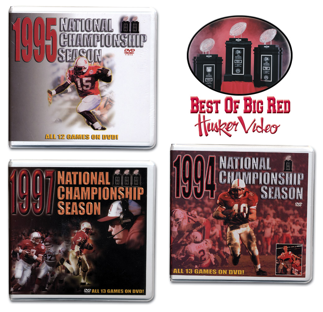 All 3 Championship Box Sets! Husker football, Nebraska cornhuskers merchandise, husker merchandise, nebraska merchandise, nebraska cornhuskers dvd, husker dvd, nebraska football dvd, nebraska cornhuskers videos, husker videos, nebraska football videos, husker game dvd, husker bowl game dvd, husker dvd subscription, nebraska cornhusker dvd subscription, husker football season on dvd, nebraska cornhuskers dvd box sets, husker dvd box sets, Nebraska Cornhuskers, All 3 Championship Box Sets!