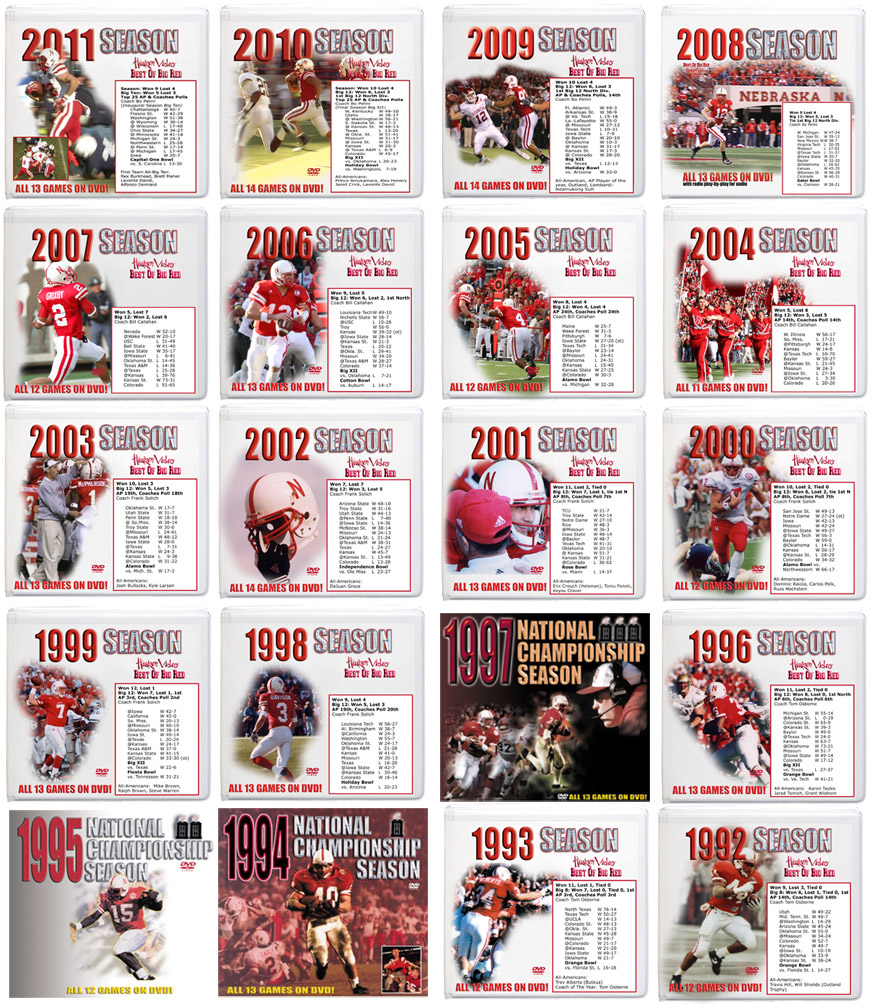 All 20 Season DVD Box Sets! Husker football, Nebraska cornhuskers merchandise, husker merchandise, nebraska merchandise, nebraska cornhuskers dvd, husker dvd, nebraska football dvd, nebraska cornhuskers videos, husker videos, nebraska football videos, husker game dvd, husker bowl game dvd, husker dvd subscription, nebraska cornhusker dvd subscription, husker football season on dvd, nebraska cornhuskers dvd box sets, husker dvd box sets, Nebraska Cornhuskers, All 20 Season DVD Box Sets!