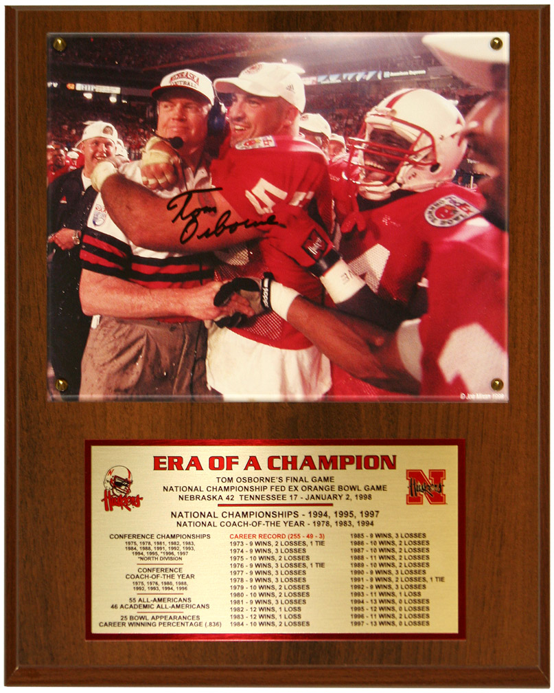 Coach Osborne Autographed Career Plaque Nebraska Cornhuskers, husker football, nebraska cornhuskers merchandise, husker merchandise, nebraska merchandise, husker memorabilia, husker autographed, nebraska cornhuskers autographed, Tom Osborne autographed, Tom Osborne signed, Tom Osborne collectible, Tom Osborne, nebraska cornhuskers memorabilia, nebraska cornhuskers collectible, Coach Osborne Autographed Career Plaque