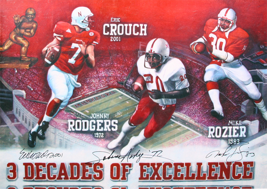 3 Decades of Excellence Print  24 x 36 Nebraska Cornhuskers, husker football, nebraska cornhuskers merchandise, husker merchandise, nebraska merchandise, husker memorabilia, husker autographed, nebraska cornhuskers autographed, nebraska cornhuskers memorabilia, nebraska cornhuskers collectible, 3 Decades of Excellence Print  24 x 36