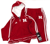 Adidas Girl's Full Zip Hooded Fleece Sweatshirt and Pant Set