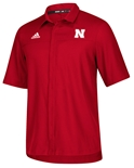 Adidas Nebraska Button Down Polo - Red