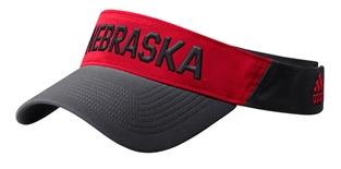 Adidas Official 2019 Coaches Nebraska Thin Visor - Black N Red