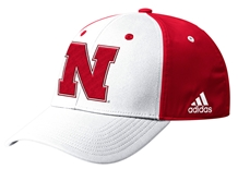 Adidas Official 2019 Sideline Coaches Nebraska Flex Hat - White N Red