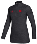 Adidas Womens Nebraska Official Sideline Quarter Zip - Black