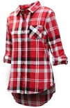 Husker Gals Boyfriend Plaid Button Up - Red