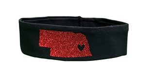 Huskers Glitter State Outline Headband