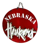 Huskers Recycled Round Wheel Wall Sign