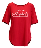 Ladies Piko Nebraska Volleyball Stencil Top