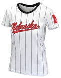 Ladies Pinstripe Nebraska Baseball Tee