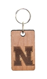 Nebraska N Wood Block Keychain
