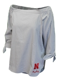 Husker Shimmer N Pinstripe Off Shoulder Top