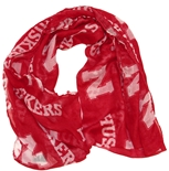 Red Sheer Infinity Scarf with N Huskers