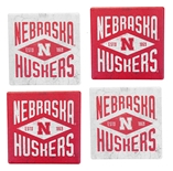 Nebraska Huskers Diamond Coasters Set