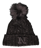 Womens Black Fuzzy Pom Cuffed Knit Hat