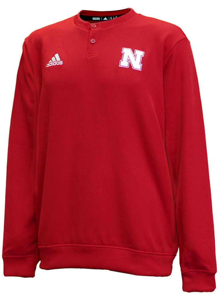 Adidas 2020 Nebraska Button Up Coaches Sweater - Red