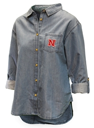 Ladies Nebraska Denim Button Up Nebraska Cornhuskers, Nebraska  Ladies Polo's, Huskers  Ladies Polo's, Nebraska Polo's, Huskers Polo's, Nebraska Ladies Nebraska Denim Button Up, Huskers Ladies Nebraska Denim Button Up