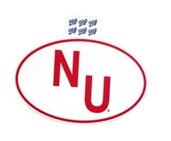 NU Euro Style Sticker Nebraska Cornhuskers, Nebraska Stickers Decals & Magnets, Huskers Stickers Decals & Magnets, Nebraska Vehicle, Huskers Vehicle, Nebraska NU Euro Style Sticker, Huskers NU Euro Style Sticker