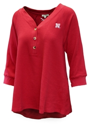 Womens 3/4 Sleeve Waffle Huskers Henley Nebraska Cornhuskers, Nebraska  Ladies Tops, Huskers  Ladies Tops, Nebraska Womens 3/4 Sleeve Waffle Huskers Henley, Huskers Womens 3/4 Sleeve Waffle Huskers Henley