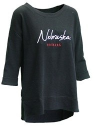 Womens 3/4 Sleeve Waffle Nebraska Boat Neck Nebraska Cornhuskers, Nebraska  Ladies Tops, Huskers  Ladies Tops, Nebraska Womens 3/4 Sleeve Waffle Nebraska Boat Neck, Huskers Womens 3/4 Sleeve Waffle Nebraska Boat Neck