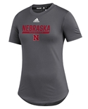 Adidas Womens Nebraska Huskers  UTL 2020 Training Tee - Grey