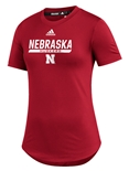 Adidas Womens Nebraska Huskers  UTL 2020 Training Tee - Red