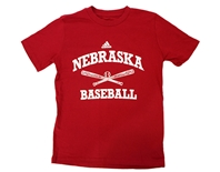 Adidas Youth Nebraska Baseball Tee