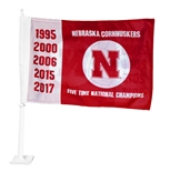 Cornhuskers Five Time Champs Volleyball Car Flag