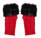 Game Day Fuzzy Fingerless Gloves